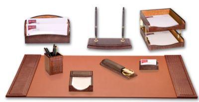 Crocodile Embossed Top-Grain Leather 10-Piece Desk Set - Brown Crocodile