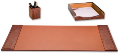 Crocodile Embossed Top-Grain Leather 3-Piece Desk Set - Brown Crocodile