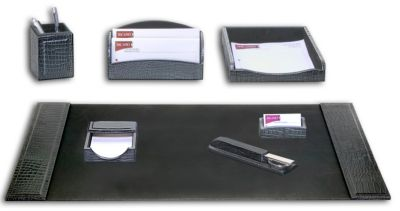 Crocodile Embossed Top-Grain Leather 7-Piece Desk Set - Black Crocodile