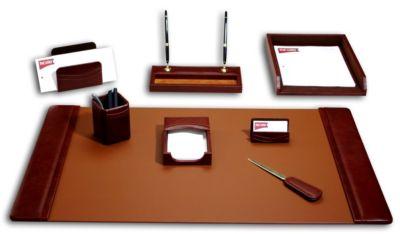 Top-Grain Leather 8-Piece Classic Desk Set - Mocha