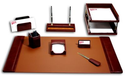 Top-Grain Leather 10-Piece Classic Desk Set - Mocha