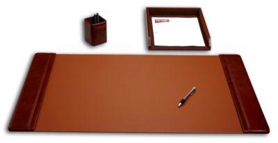 Top-Grain Leather 3-Piece Classic Desk Set - Mocha