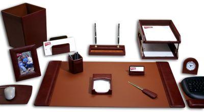 Top-Grain Leather 16-Piece Classic Desk Set - Mocha
