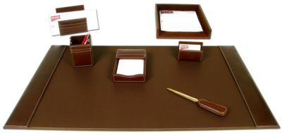 Rustic Top-Grain Leather 7-Piece Desk Set - Brown