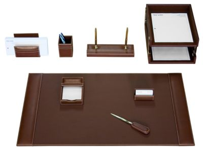 Rustic Top-Grain Leather 10-Piece Desk Set - Brown