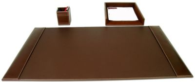 Rustic Top-Grain Leather 3-Piece Desk Set - Brown