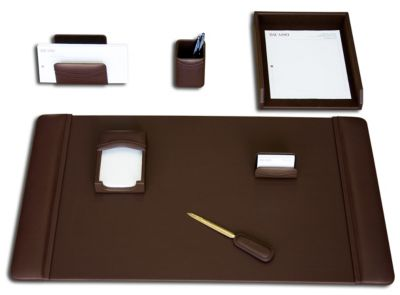 Top-Grain Leather 7-Piece Classic Desk Set - Chocolate Brown