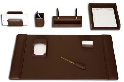 Top-Grain Leather 8-Piece Classic Desk Set - Chocolate Brown