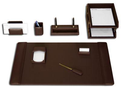Top-Grain Leather 10-Piece Classic Desk Set - Chocolate Brown