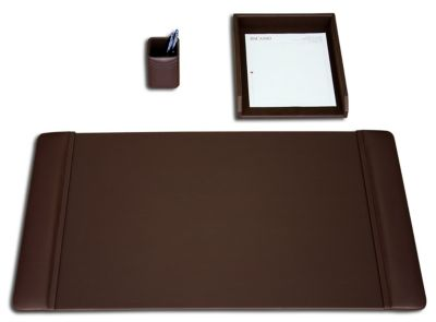 Top-Grain Leather 3-Piece Classic Desk Set - Chocolate Brown
