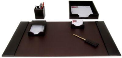 Econo-Line Bonded Leather 6-Piece Desk Set - Dark Brown