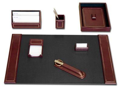 Top-Grain Leather 24kt Gold Tooled 7-Piece Desk Set - Burgundy