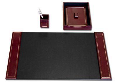Top-Grain Leather 24kt Gold Tooled 3-Piece Desk Set - Burgundy