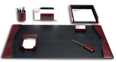 Contemporary Top-Grain Leather 7-Piece Desk Set - Burgundy