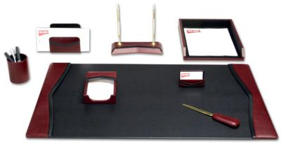 Contemporary Top-Grain Leather 8-Piece Desk Set - Burgundy