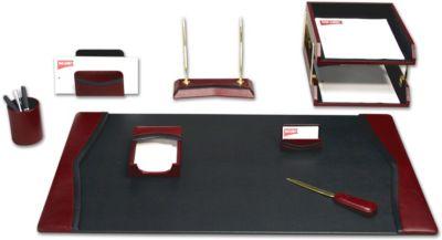 Contemporary Top-Grain Leather 10-Piece Desk Set - Burgundy