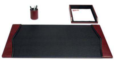 Contemporary Top-Grain Leather 3-Piece Desk Set - Burgundy