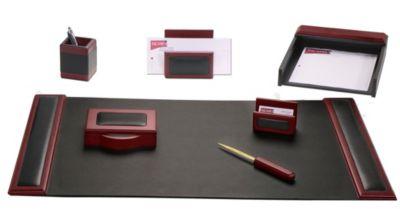 Wood & Top-Grain Leather 7-Piece Desk Set - Rosewood