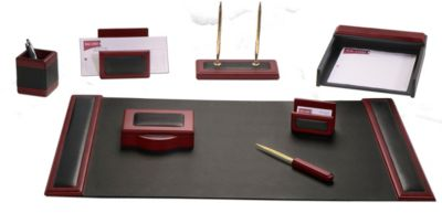 Wood & Top-Grain Leather 8-Piece Desk Set - Rosewood
