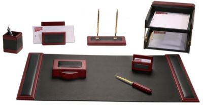 Wood & Top-Grain Leather 10-Piece Desk Set - Rosewood
