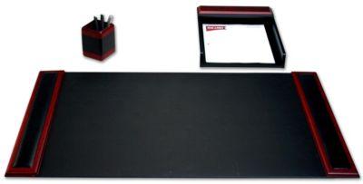 Wood & Top-Grain Leather 3-Piece Desk Set - Rosewood