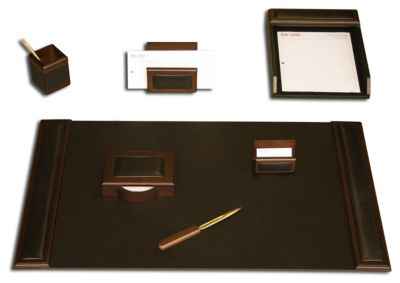Wood & Top-Grain Leather 7-Piece Desk Set - Walnut