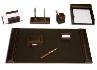 Wood & Top-Grain Leather 8-Piece Desk Set - Walnut
