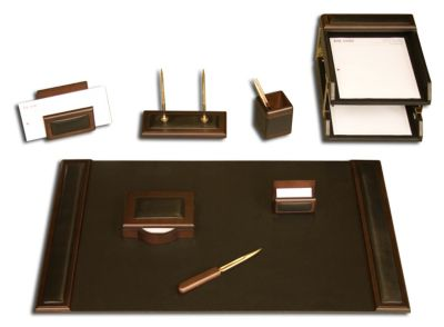 Wood & Top-Grain Leather 10-Piece Desk Set - Walnut