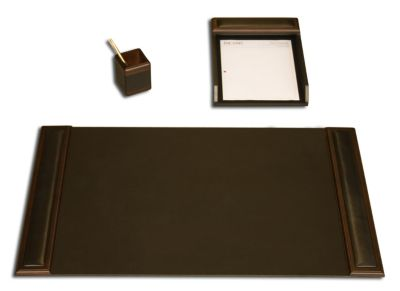 Wood & Top-Grain Leather 3-Piece Desk Set - Walnut