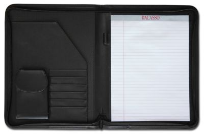 Top-Grain Leather Deluxe Letter-Size Zip-Around Portfolio - Black
