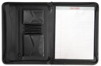 Top-Grain Leather Enhanced Zip-Around Portfolio - Black