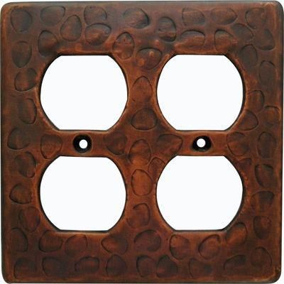 Customizable Copper Double Gang Outlet Cover Plate