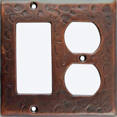 Customizable Copper Double Gang Rocker/Outlet Combo Cover Plate