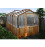8' x 12' Cedar Greenhouse with Heat Functioning Roof Window Vents