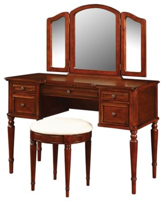 Warm Vanity Mirror & Bench
