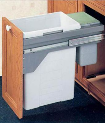 US Cargo 15 Pull-Out Double Waste Bin Set - Silver