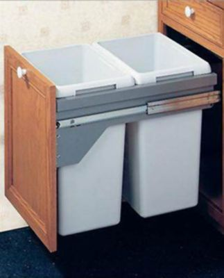 US Cargo 21 Pull-Out Double Waste Bin Set - Silver