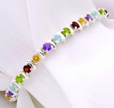 Sterling Silver Multi-Color Round Gemstone Bracelet