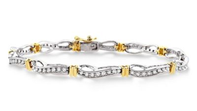 14k White & Yellow Gold Diamond Bracelet - 1.00 ct tw