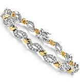 14k White & Yellow Gold Diamond Bracelet - 1.00 ct tw