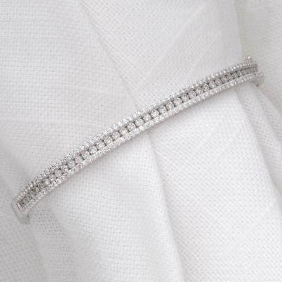 14k White Gold Round Diamond Bangle Bracelet - 2.00 ct tw
