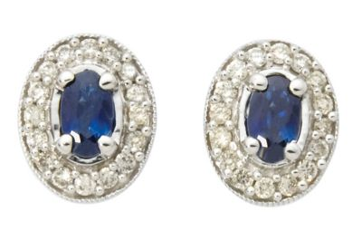 14k White Gold Genuine Blue Sapphires & Round Diamond Earrings