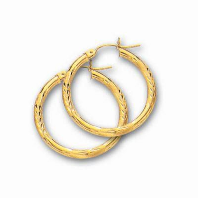 25mm 14k Gold Diamond Cut Hoop Earrings