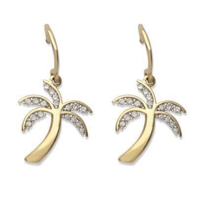 10k Yellow Gold Diamond Palm Tree Earrings - .25 ct tw