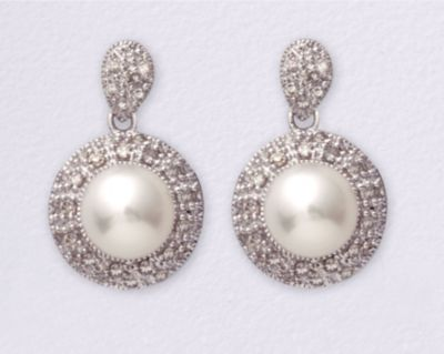 14k Gold 6mm Cultured Pearl & Round Diamond Earrings - .35 ct tw