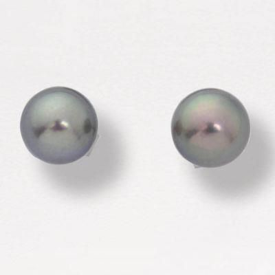 14k White Gold 6mm Black Cultured Pearl Earrings