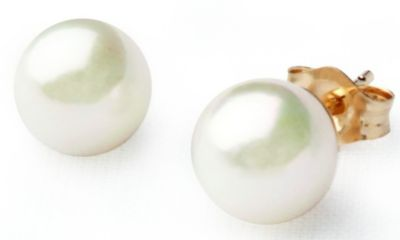 14k Yellow Gold 6mm Cultured White Pearl Earrings