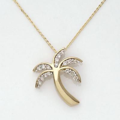10k Yellow Gold Diamond Palm Tree Necklace with 18