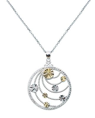 14k Yellow Gold & Sterling Silver Pendant with 18