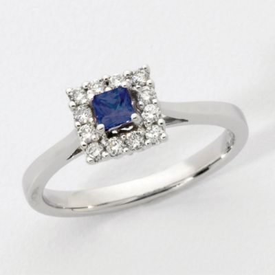 14k White Gold Genuine Blue Sapphire & Round Diamond Ring